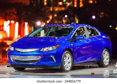 DETROIT - JANUARY 15: The new 2016 Chevy Volt on display January 15th, 2015 at the 2015 North American International Auto Show in Detroit, Michigan.