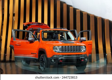 DETROIT - JANUARY 15: The new Jeep Renegade on display January 13th, 2015 at the 2015 North American International Auto Show in Detroit, Michigan.