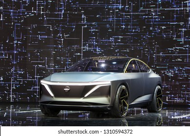 DETROIT - JANUARY 15: The Nissan IMs concept  on display at the North American International Auto Show media preview January 15, 2019 in Detroit, Michigan.