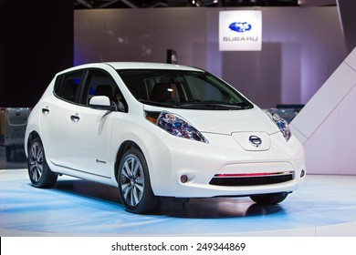 DETROIT - JANUARY 15: The Nissan Leaf on display January 15th, 2015 at the 2015 North American International Auto Show in Detroit, Michigan.