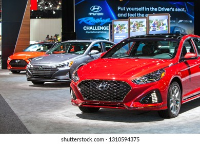 DETROIT - JANUARY 15: A row of Hyundais on display at the North American International Auto Show media preview January 15, 2019 in Detroit, Michigan.