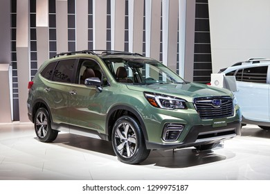 DETROIT - JANUARY 15: The Subaru Forester on display at the North American International Auto Show media preview January 15, 2019 in Detroit, Michigan.