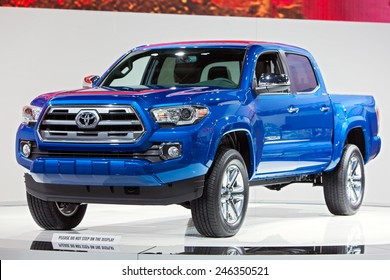 DETROIT - JANUARY 15: The Toyota Tacoma truck on display January 15th, 2015 at the 2015 North American International Auto Show in Detroit, Michigan.