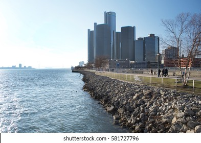 DETROIT JANUARY 2017- General Motors Headquarters and Renaissance Center in downtown Detroit, along the Detroit Riverwalk, Detroit, Michigan USA