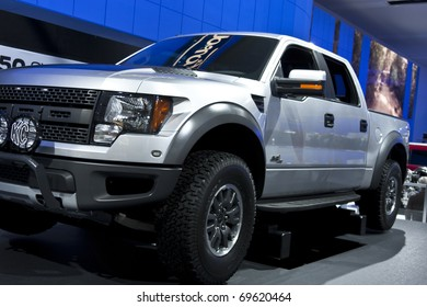 DETROIT - JANUARY 23:  A Ford Raptor on display at the North American International Auto Show on January 23, 2011 in Detroit, Michigan.
