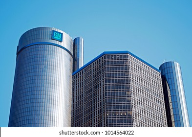 DETROIT JANUARY 26, 2018- General Motors World Headquarters in Renaissance Center, Downtown Detroit January 26, 2018 Downtown Detroit, Michigan USA