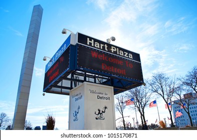 """DETROIT - JANUARY 26, 2018, Hart Plaza electronic marquee and sign with Spirit of Detroit Logo and """"Welcome to Detroit: in red lights. Downtown Detroit - January 26, 2018"""