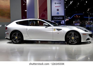 DETROIT - JANUARY 27 :The new 2013 Ferrari FF at The North American International Auto Show January 27, 2013 in Detroit, Michigan.
