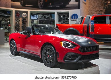 DETROIT - JANUARY 9: The 2017 Fiat 124 Spider on display at the North American International Auto Show media preview January 9, 2017 in Detroit, Michigan.