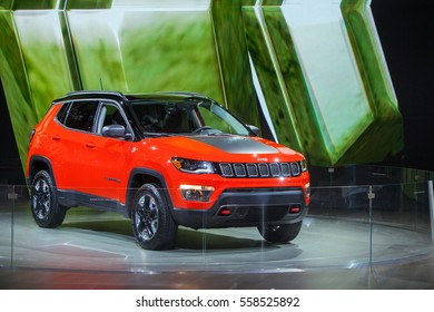 DETROIT - JANUARY 9: The 2017 Jeep Compass on display at the North American International Auto Show media preview January 9, 2017 in Detroit, Michigan.