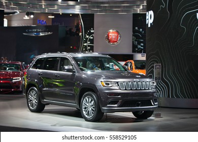 DETROIT - JANUARY 9: The 2017 Jeep Grand Cherokee on display at the North American International Auto Show media preview January 9, 2017 in Detroit, Michigan.
