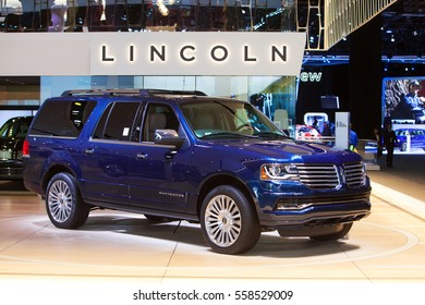 DETROIT - JANUARY 9: The 2017 Lincoln Navigator on display at the North American International Auto Show media preview January 9, 2017 in Detroit, Michigan.