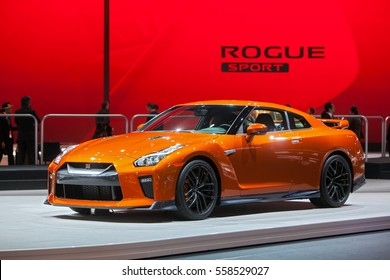DETROIT - JANUARY 9: The 2017 Nissan GTR on display at the North American International Auto Show media preview January 9, 2017 in Detroit, Michigan.