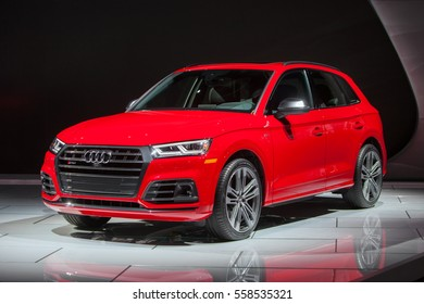 DETROIT - JANUARY 9: The 2018 Audi SQ5 on display at the North American International Auto Show media preview January 9, 2017 in Detroit, Michigan.