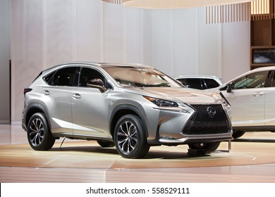 DETROIT - JANUARY 9: The 2018 Lexus NX Hybrid on display at the North American International Auto Show media preview January 9, 2017 in Detroit, Michigan.
