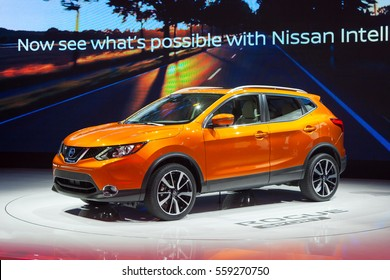 DETROIT - JANUARY 9: The 2018 Nissan Rogue Sport SUV on display at the North American International Auto Show media preview January 9, 2017 in Detroit, Michigan.