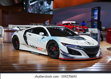 DETROIT - JANUARY 9: The Acura NSX GT3 race car on display at the North American International Auto Show media preview January 9, 2017 in Detroit, Michigan.