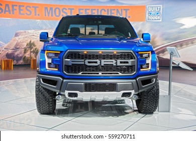 DETROIT - JANUARY 9: A Ford F-150 Raptor on display at the North American International Auto Show media preview January 9, 2017 in Detroit, Michigan.