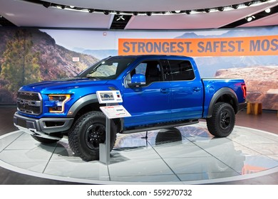 DETROIT - JANUARY 9: A Ford F-150 Raptor truck on display at the North American International Auto Show media preview January 9, 2017 in Detroit, Michigan.