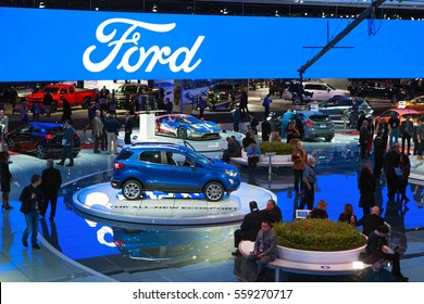 DETROIT - JANUARY 9: The Ford Motor Company display at the North American International Auto Show media preview January 9, 2017 in Detroit, Michigan.