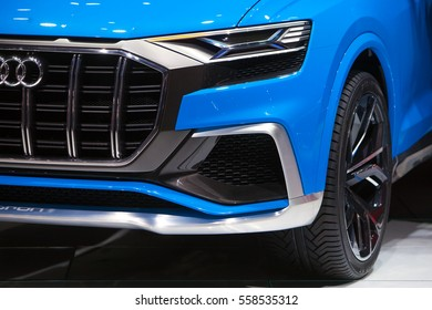 DETROIT - JANUARY 9: Headlight detail on the Audi Q7 eTron concept at the North American International Auto Show media preview January 9, 2017 in Detroit, Michigan.