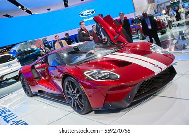 DETROIT - JANUARY 9: Members of the media examine the 2017 Ford GT at the North American International Auto Show media preview January 13, 2016 in Detroit, Michigan.