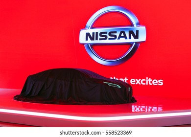 DETROIT - JANUARY 9: Nissan Vmotion 2.0 concept under cover at the North American International Auto Show media preview January 9, 2017 in Detroit, Michigan.