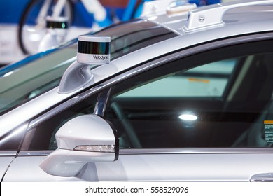 DETROIT - JANUARY 9: Velodyne self driving car sensor at the North American International Auto Show media preview January 9, 2017 in Detroit, Michigan.