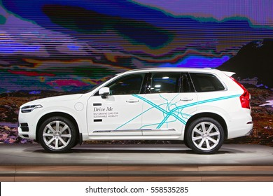 DETROIT - JANUARY 9: A Volvo self driving car on display at the North American International Auto Show media preview January 19, 2017 in Detroit, Michigan.