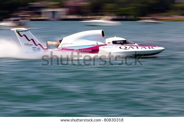 Detroit July 10th Qatar Unlimited Hydroplane Stock Photo