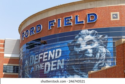 DETROIT - JULY 31: Ford Field located in Detroit, Michigan on July 31, 2014. Ford Field is an indoor American football stadium and home to the Detroit Lions of the NFL.