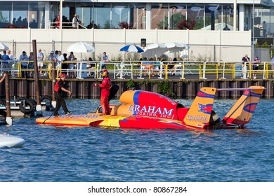 DETROIT - JULY 8th :Driver Jeff Bernard prepares to dock his hydroplane at the APBA Gold Cup Race on July 8th, 2011 in Detroit, Michigan.