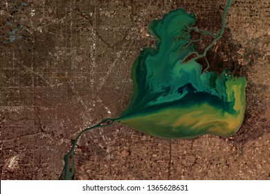 Detroit and Lake St Clair seen from space - contains modified Copernicus Sentinel Data (2019)
