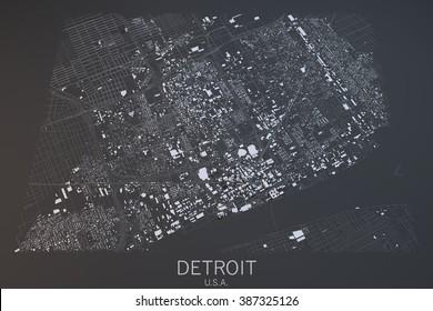 Detroit map, satellite view, United States
