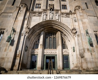 Detroit Masonic Temple. The building contains a variety of public spaces including three theaters, three ballrooms and banquet halls in Detroit , USA