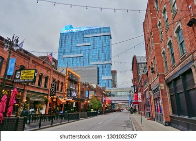 DETROIT, MI -10 NOV 2018- View of Greektown, a historic commercial and entertainment district in Detroit, Michigan.