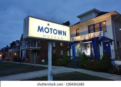 DETROIT, MI -10 NOV 2018- View of the landmark Motown Museum of Hitsville U.S.A., a music museum located in the record label's old administrative building and recording studio in Detroit, Michigan.