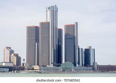 DETROIT, MI - APRIL 8, 2017:  General Motors Building, GM Headquarters aka Renaissance Center in downtown Detroit.