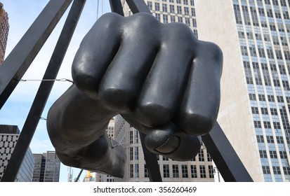 "DETROIT, MI - DECEMBER 24: ""The Fist,"" a monument to Joe Louis in Detroit, MI, shown here on December 24, 2015, is the work of sculptor Robert Graham."