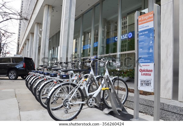 DETROIT, MI - DECEMBER 24: Zagster bikes, available to employees of Dan Gilbert companies, are located near Campus Martius park in downtown Detroit, MI, on December 24, 2015.