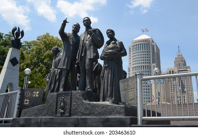 DETROIT, MI - JULY 6: The Gateway to Freedom International Memorial,  in Hart Plaza, Detroit, is shown here on July 6, 2014. Detroit played a critical role in the Underground Railroad.