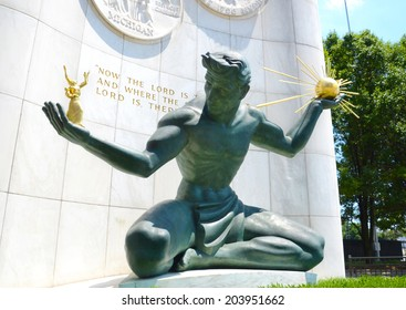 DETROIT, MI - JULY 6: The Spirit of Detroit monument in Detroit, MI, shown here on July 6, 2014, was featured in a 2011 Chrysler 200 Super Bowl commercial.