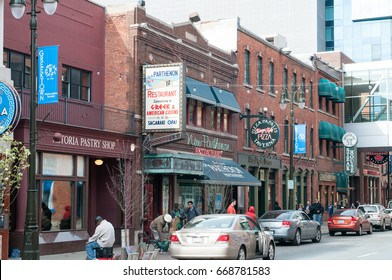 DETROIT, MI - MAY 6: Greektown section of downtown Detroit on May 6, 2014
