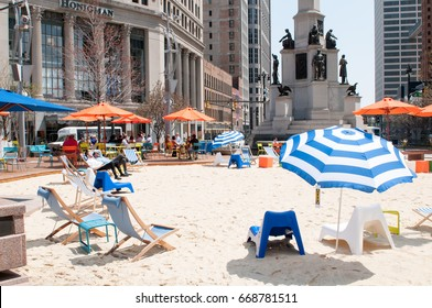 DETROIT, MI - MAY 8: People enjoying the revitalized Campus Martius park in Detroit, MI on May 8, 2014