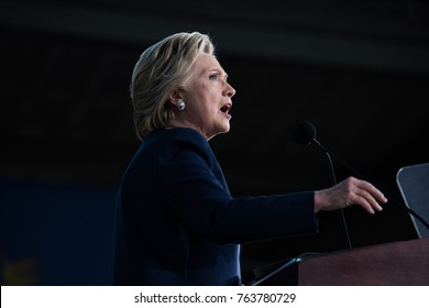 DETROIT, MI- November 4, 2016: Hillary Clinton speaks to crowd at campaign rally at Eastern Market.