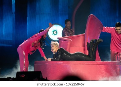 Detroit, MI /USA - 04-26-2019: P!nk performing live at the Little Caesar's Arena