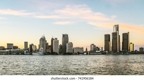 Detroit, MI, USA - 2nd October 2016:  Detroit City Skyline at dusk as viewed from Windsor, Ontario, Canada.