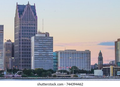 Detroit, MI, USA - 2nd October 2016: Iconic Detroit Waterfront Buildings along the Detroit River at dusk.