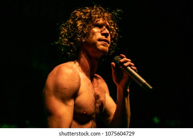 Detroit, MI / USA - April 19, 2018: Nothing More (Jonny Hawkins) performing on the 'Crooked Teeth World Tour' with Papa Roach at The  Fillmore in Detroit.