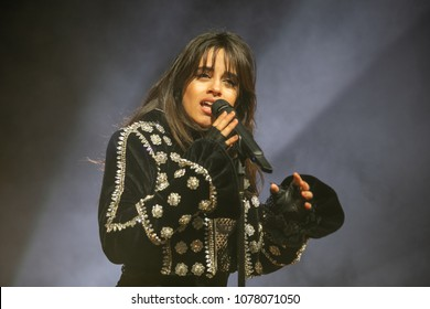Detroit, MI / USA - April 25, 2018: Camilla Cabello performs for her 'Never Be The Same Tour' live at The Fillmore Detroit.